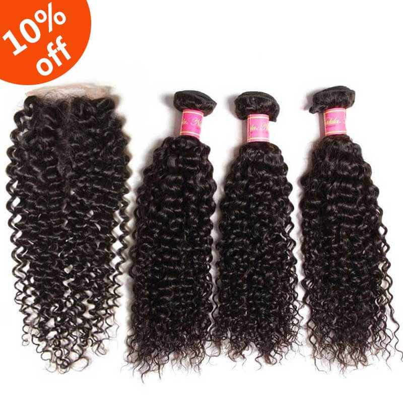 3 curly bundels with closure
