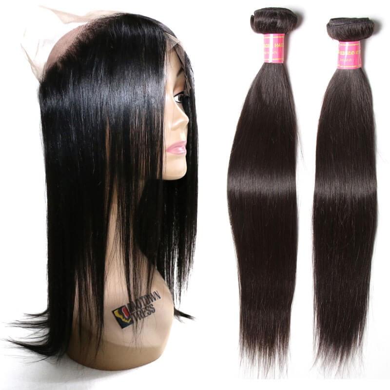 2pcs Straight Virgin Hair Weave Bundles With 360 Lace Closure Nadula