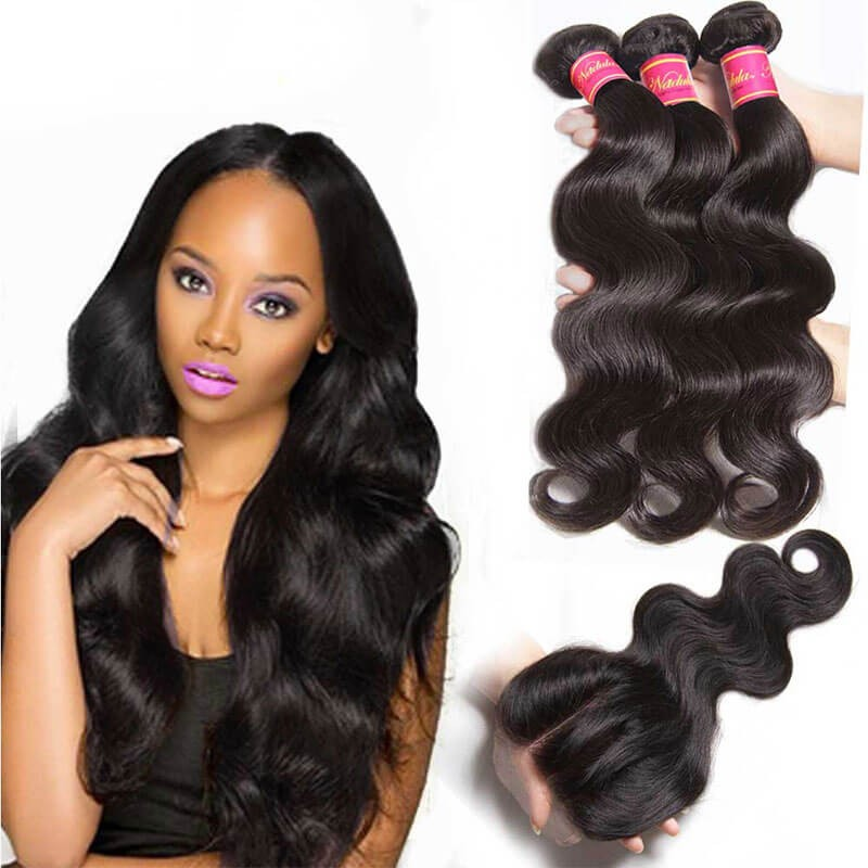 Body Wave Virgin Hair Weave 3 Bundles With Lace Closure Nadula Best
