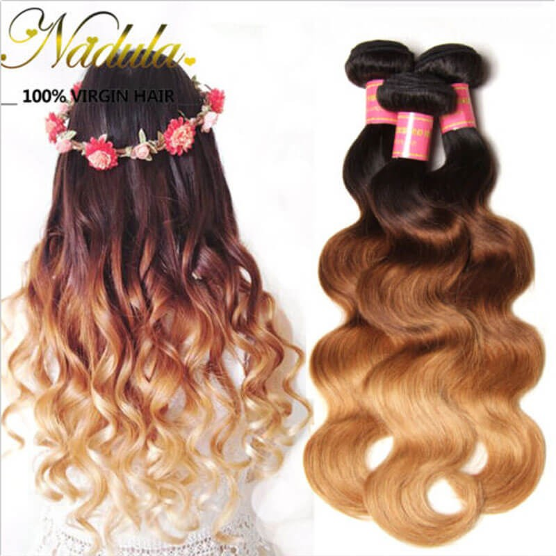 Nadula Ombre Body Wave Hair 3 Bundles 3 Tone Color Human Hair Weave