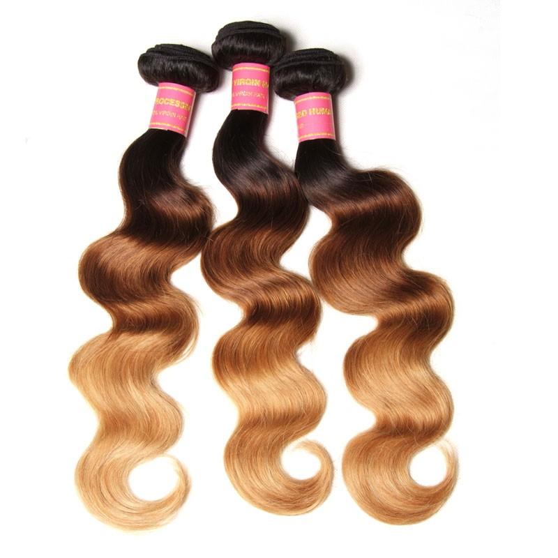 Nadula Ombre Body Wave Hair 3 Bundles 3 Tone Color Human Hair Weave