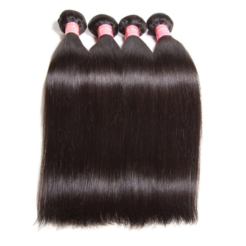 Nadula Cheap Indian Hair Weave Bundles 4 Pcs Thick Straight Indian