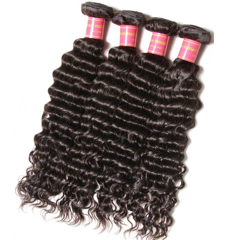 Nadula Deep Wave Virgin Hair Weave 4 Bundles With Lace Frontal