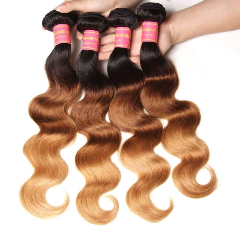 Nadula Ombre Hair Weave Body Wave 4 Bundles 3 Tone Color Ombre Human