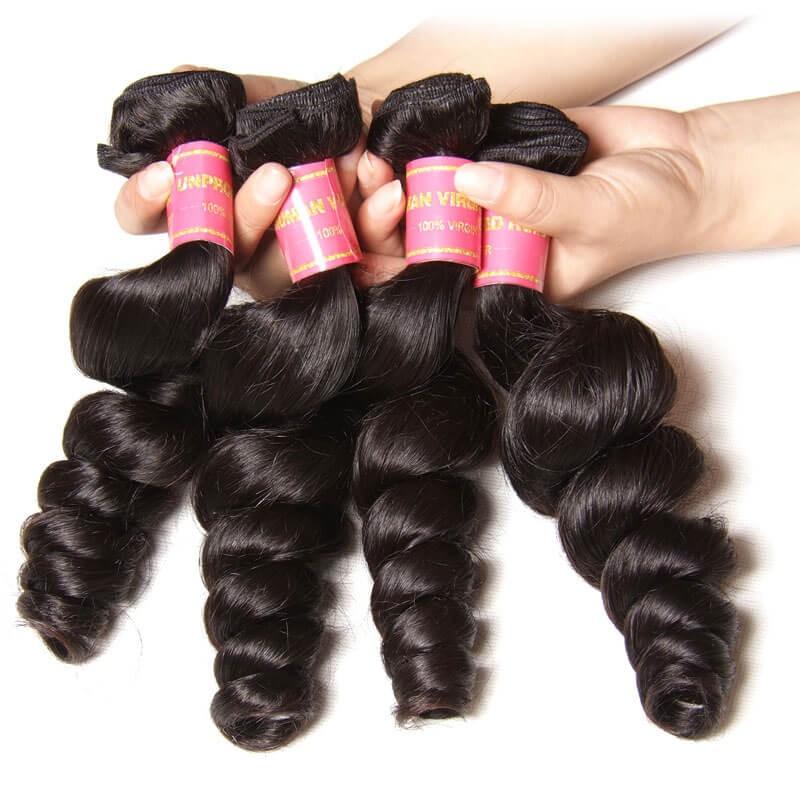 Nadula Real Virgin Peruvian Loose Wave Hair Weave 3 Bundles Wavy