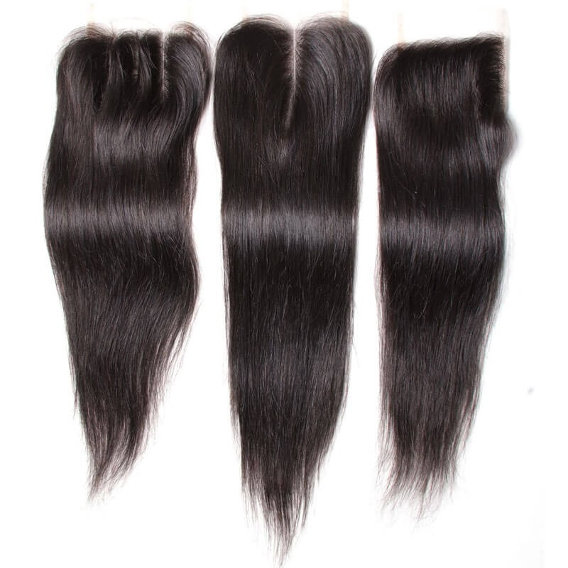 Nadula Straight Virgin Hair Weave 3 Bundles With Lace Closure Soft