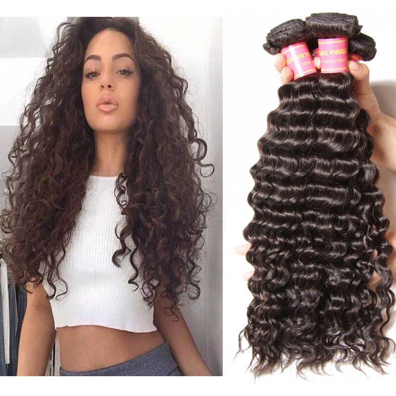 Nadula Unprocessed Virgin Peruvian Hair Bundles Deep Wave 4 Pcs
