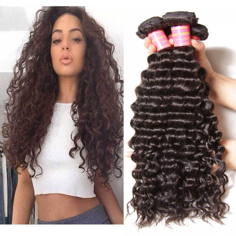 Nadula Virgin Indian Hair 3 Bundles Deep Wave Natural Black Virgin