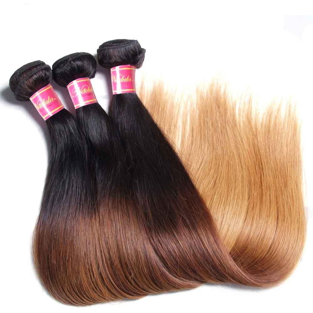 Nadula Cheap Straight Ombre Hair Weave 4 Bundles 3 Tone Color Ombre