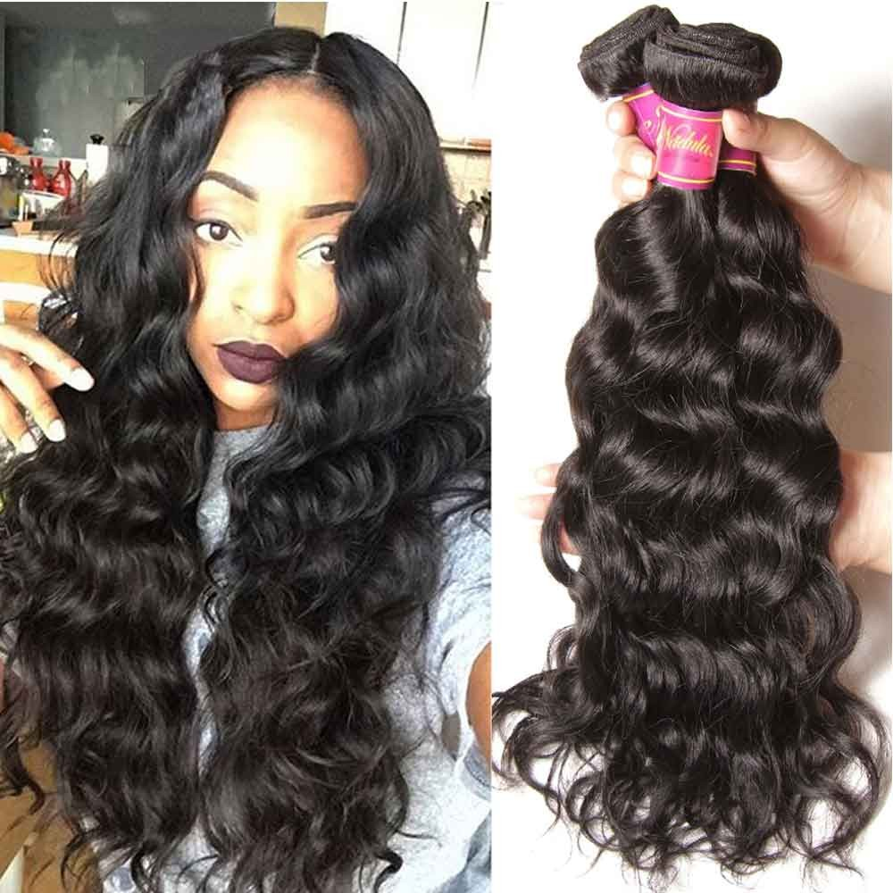 Nadula Cheap Peruvian Virgin Hair 4 Bundles Natural Wave Thick Wavy