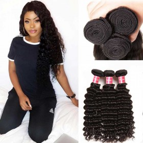 Nadula Virgin Indian Hair 3 Bundles Deep Wave Natural Black Virgin Remy Indian Human Hair Weave