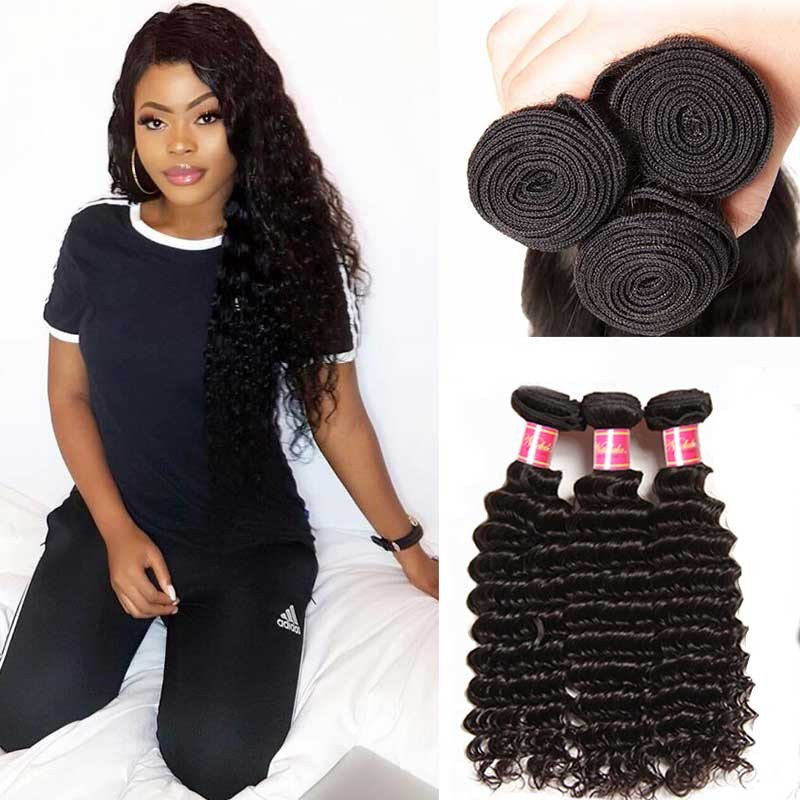 Remy Indian Deep Wave Hair Extensions Unprocessed Deep Wave Indian
