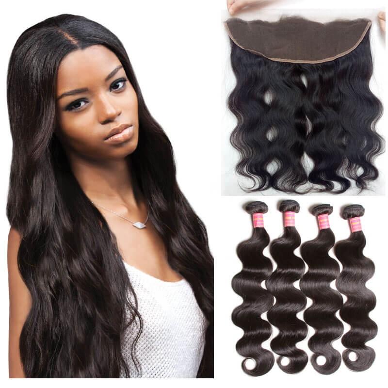 4 Pcs Full Virgin Hair Weave Bundles With Lace Frontal Closure Nadula