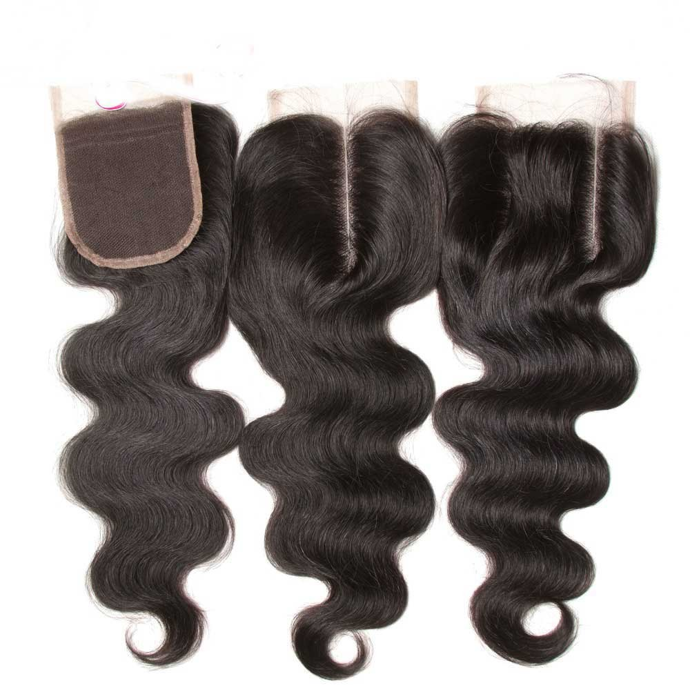 middle part lace closure body wave