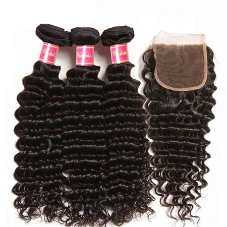 Deep Wave Virgin Hair Weave 3 Bundles With Lace Closure Nadula Soft Unprocessed Virgin Human Hair