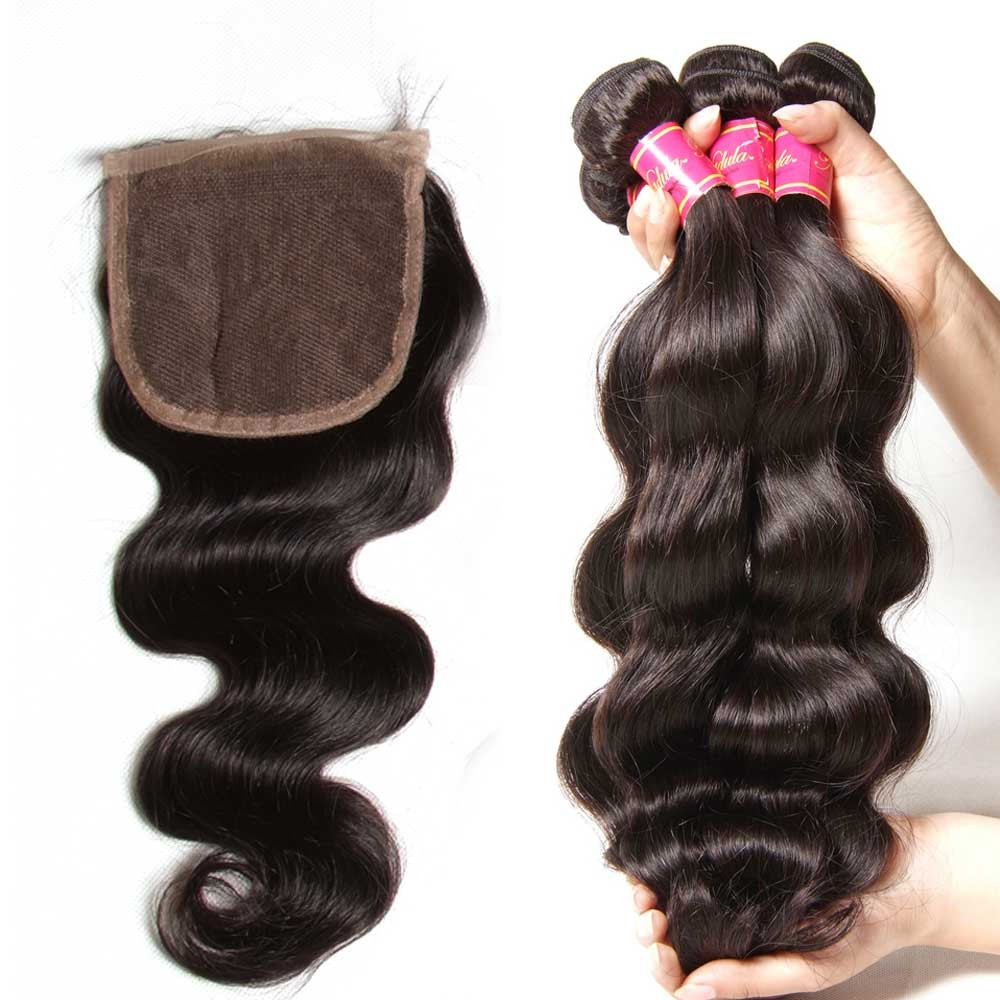 Nadula 4 Bundles Body Wave Hair Weave With Lace Closure 100% Unprocessed Virgin Human Hair