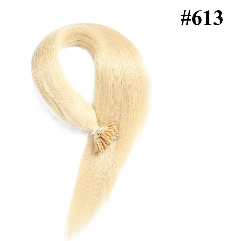 Nadula Cheap Keratin Fusion I Tip Hair Extensions Bleach Blonde #613 Straight Pre Bonded Indian Remy Human Hair