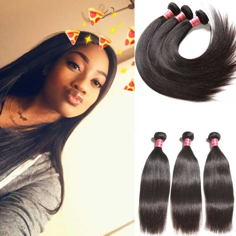 Nadula Affordable Best Virgin Brazilian Hair Weave 3 Bundles Straight Real Brazilian Human Hair Extensions