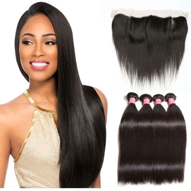 Nadula 4 Bundles Straight Virgin Hair Weave With Lace Frontal