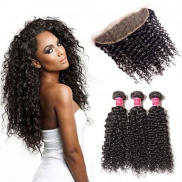 virgin curly hair bundle deals with closure
