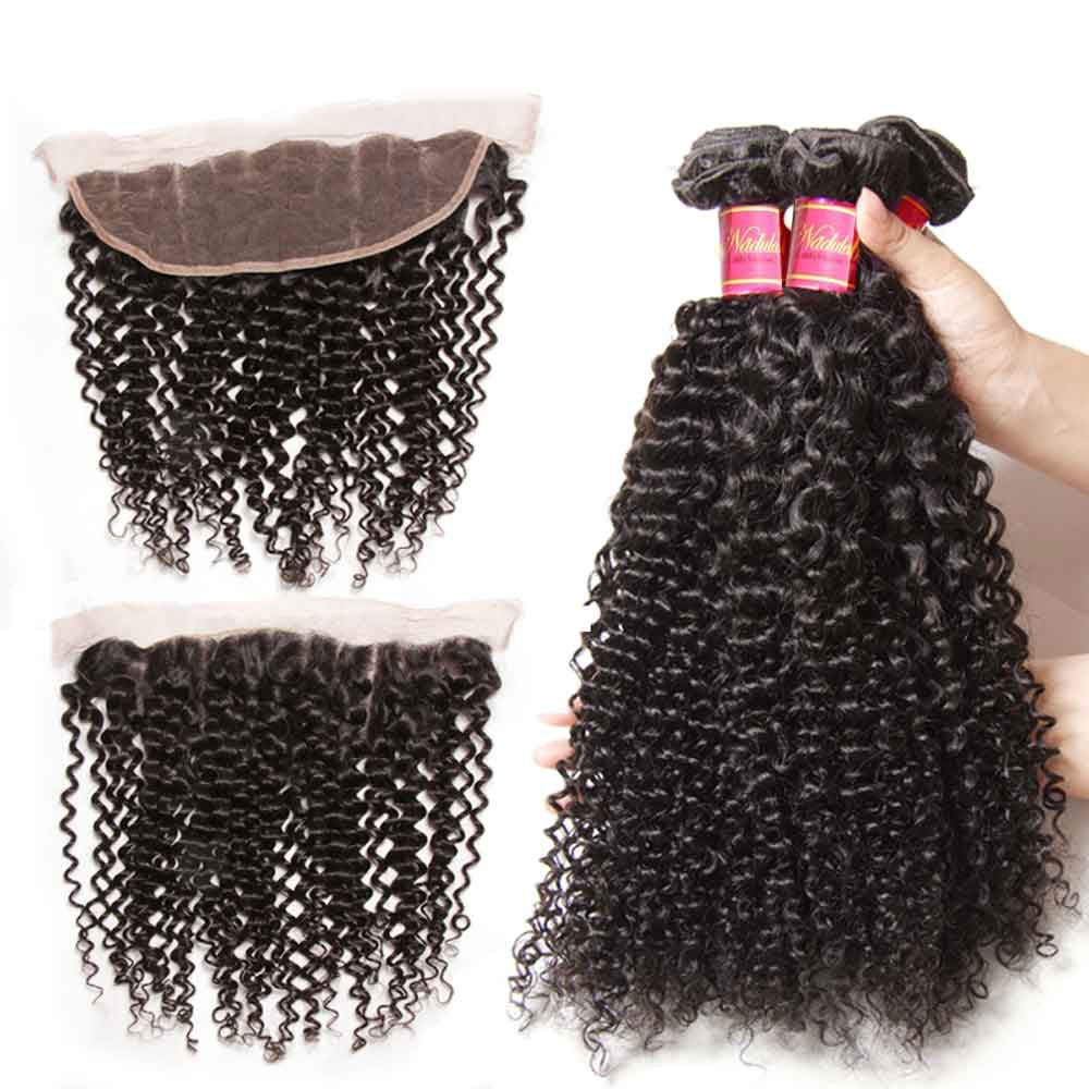Nadula Wholesale Kinky Curly Hair Weave Bundles With 13x4 Lace