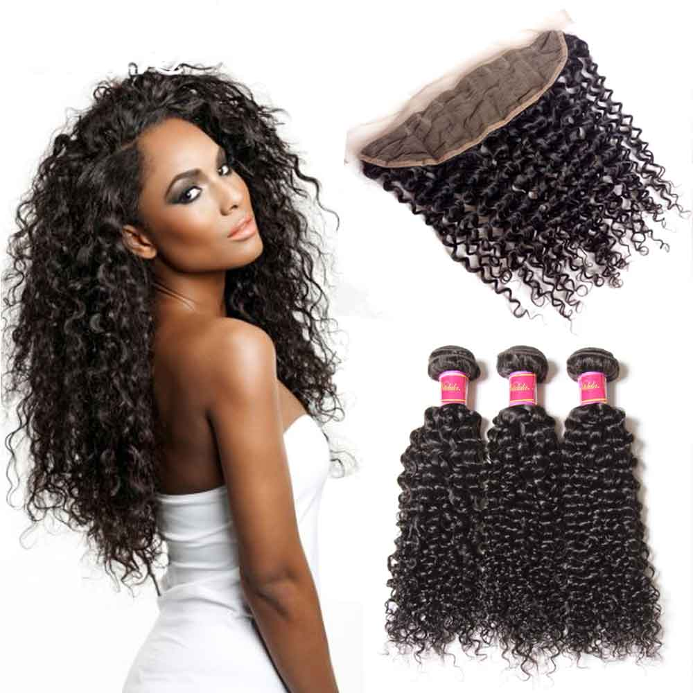 Kinky Curly Virgin Hair Weave 3 Bundles With Lace Frontal Closure