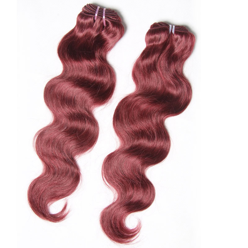 Nadula 4 Bundles Cheap Brazilian Hair Weave 99j Body Wave Auburn