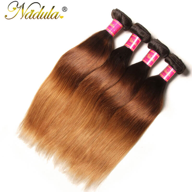 Nadula Cheap Straight Ombre Hair Weave 4 Bundles 3 Tone Color Ombre