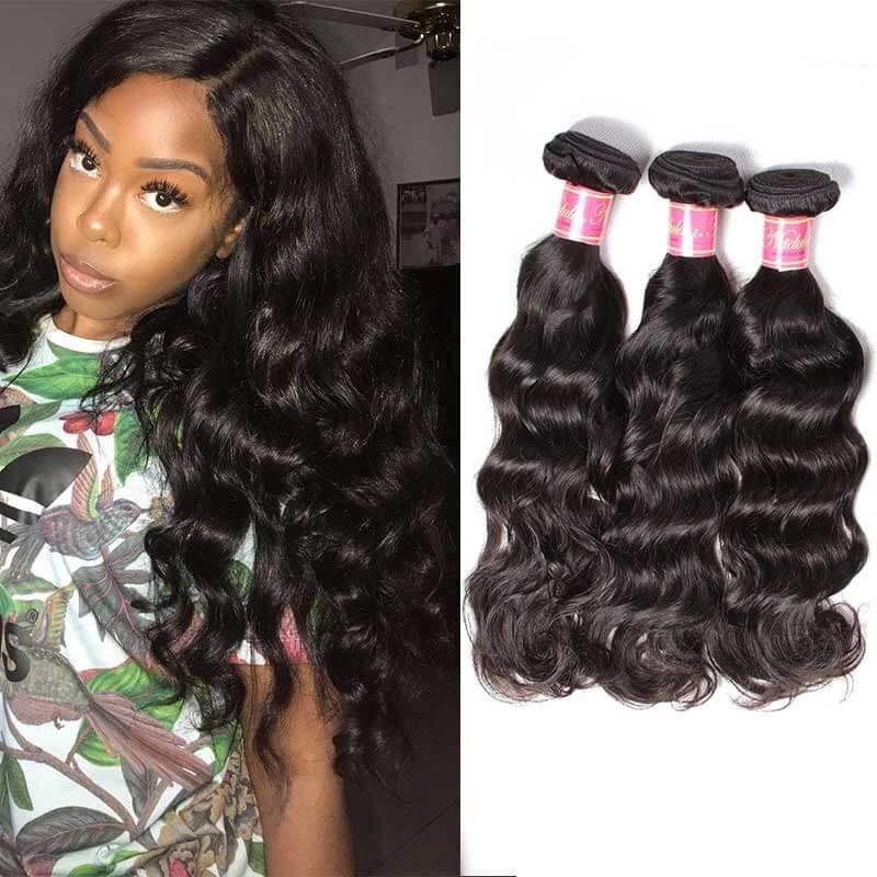 3 bundles brazilian natural wave hair weave