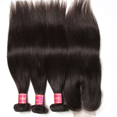 3 bundles brazilian hair with closure