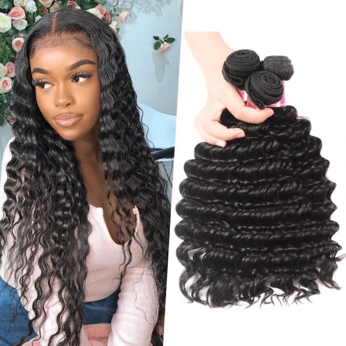 Nadula Quality Virgin Peruvian Deep Wave 3 Bundles Real Virgin Peruvian Human Hair Weave For Sale