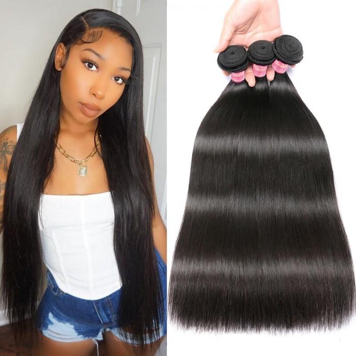 Nadula 3 Bundles Of Affordable Virgin Peruvian Straight Hair Bundle Deals Human Straight Weave