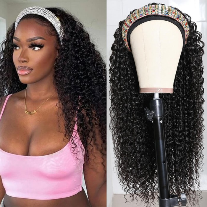 Nadula 20 Inch Jerry Curly Wig Headband Wig Glueless Wig 150% Density Human Hair Wigs Natural Looking Flash Deal