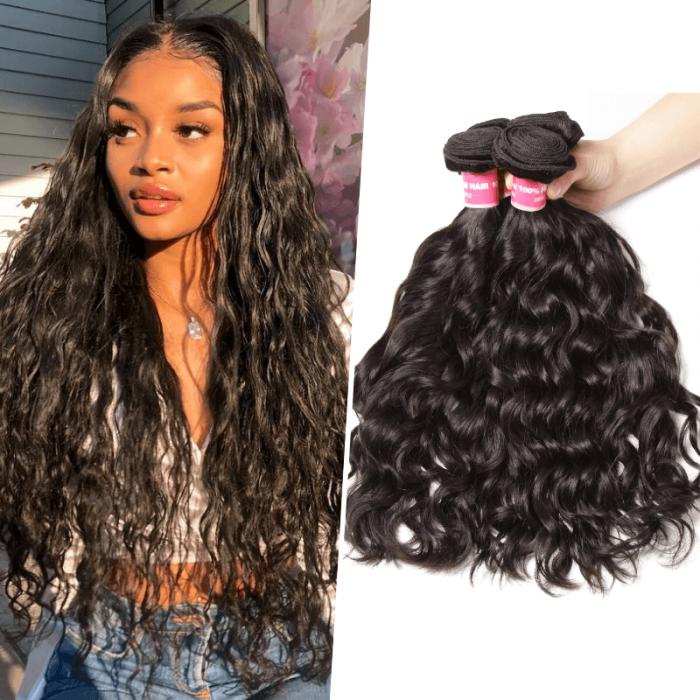 Nadula Affordable Peruvian Virgin Hair 4 Bundles Natural Wave Thick Wavy Peruvian Human Hair Weave