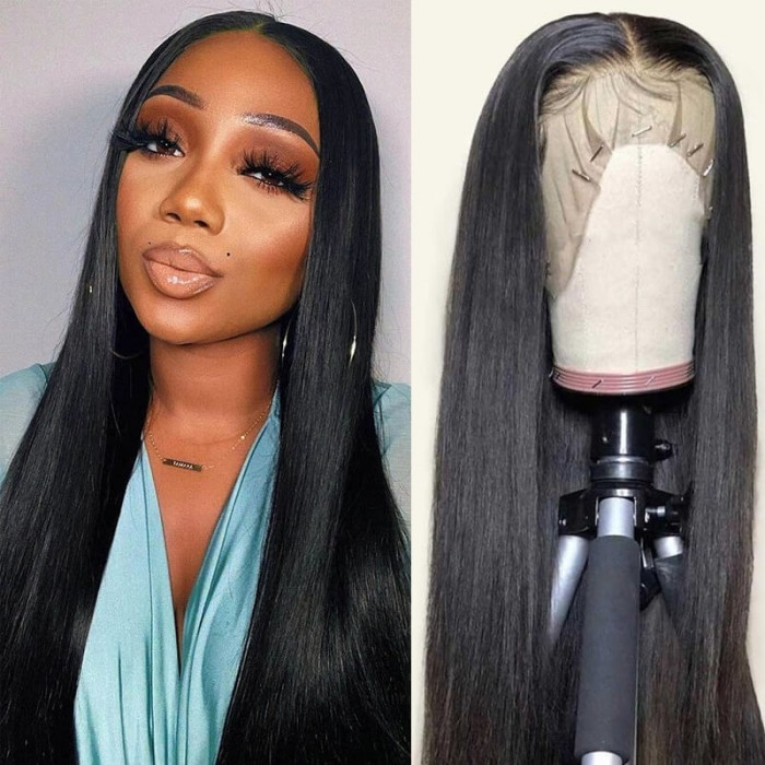 Nadula 13 By 5 By 0.5 Inch T Part Lace Wig Straight Human Hair Middle Part Lace Wig
