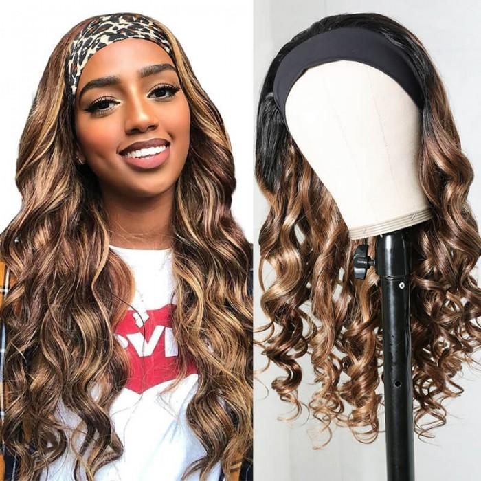 Nadula Blonde Highlight Human Hair Headband Wigs 150% Density Body Wave Hair Wigs Wear And Go