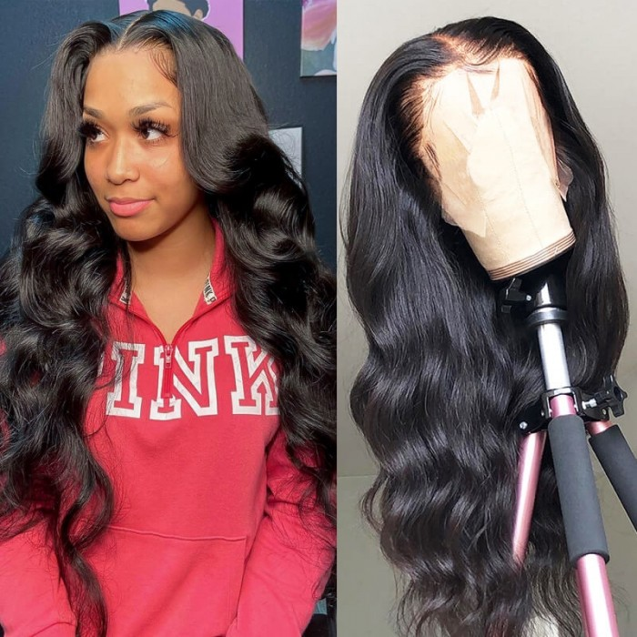 Nadula 13 by 5 By 0.75 Inch T Part Lace Wig 150% Density Wigs With Natural Hairline Body Wave Virgin Hair Wigs