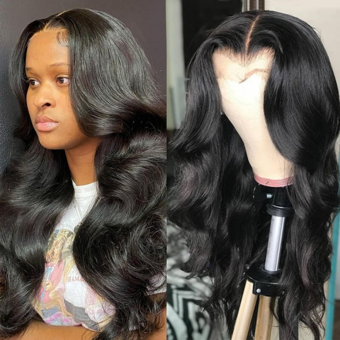Nadula 13x4 HD Lace Front Wigs Natural Black Body Wave Human Hair Wigs Pre Plucked HD Lace Wigs