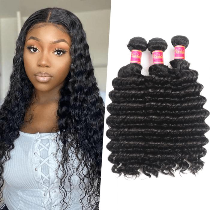 Nadula Virgin Indian Hair 3 Bundles Deep Wave Natural Black Hair Weave