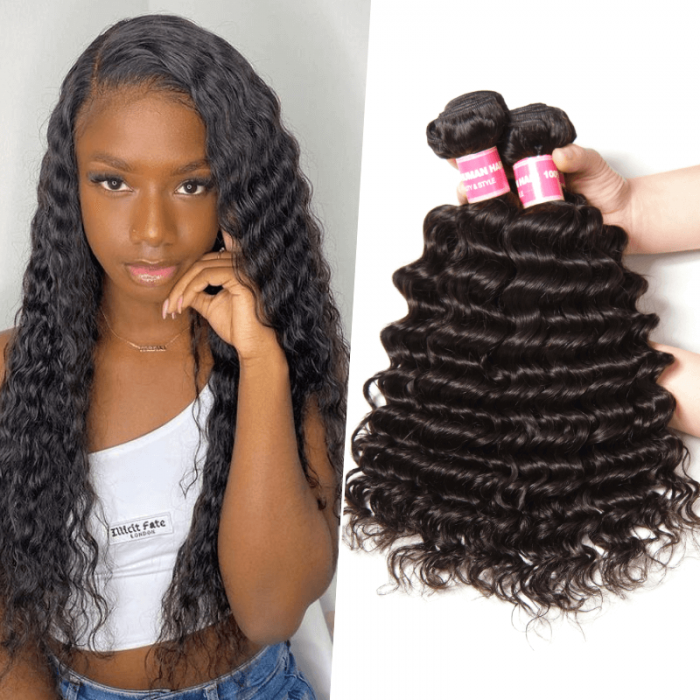 Nadula Malaysian Virgin Hair Weave 3 Bundles Deep Wave Human Hair Weft For Sale