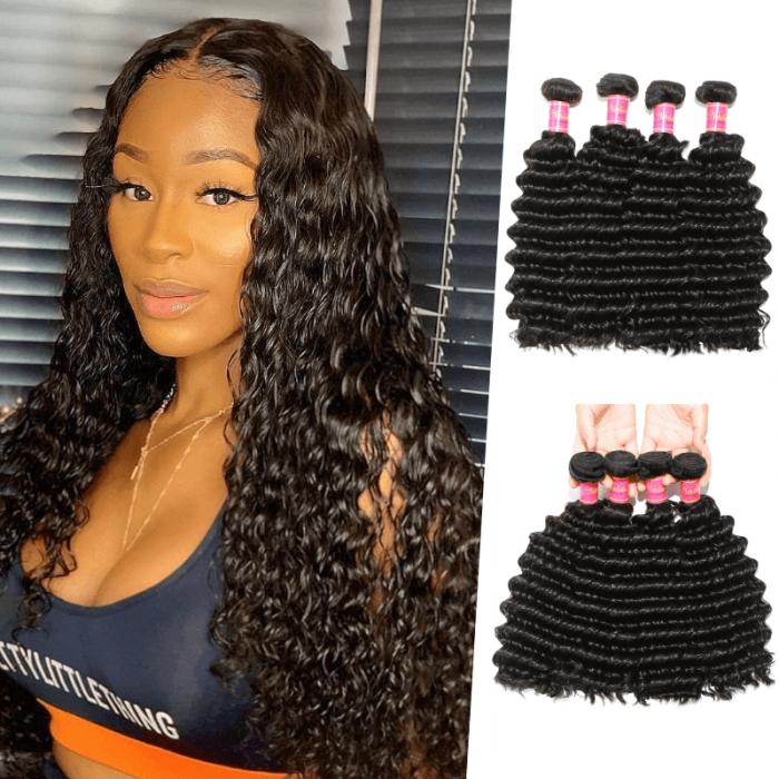 Nadula Soft Virgin Brazilian Deep Wave Hair Bundles 4pcs Quality Brazilian Virgin Hair Weave Natural Black