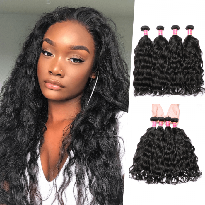 Nadula Affordable Brazilian Virgin Hair Weave Natural Wave 4 Bundles Double Wefted Brazilian Wavy Hair Extensions