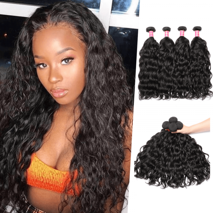 Nadula Quality Indian Virgin Hair Weave Natural Wave 4 Bundles Double Wefted Indian Wavy Hair Extensions