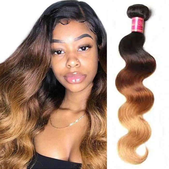 Nadula Hair Body Wave Ombre Hair 1 Bundle 3 Tone Color Human Hair Extensions For Sale