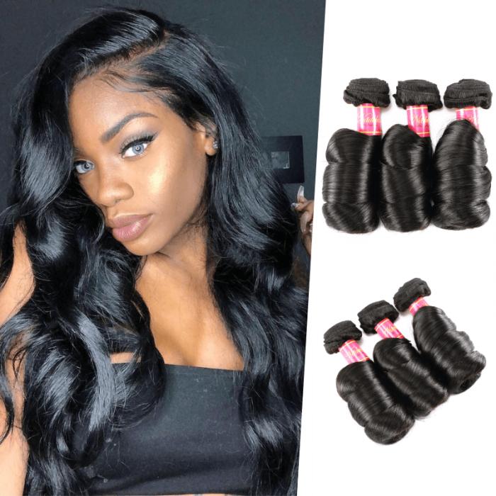 Nadula 4 Bundles Virgin Peruvian Loose Wave Hair Weave Peruvian Hair 16in-26in For Sale