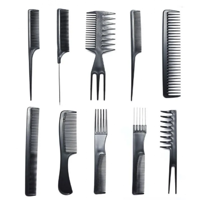 Nadula Free Gift Halloween Hair Care Comb Anti Static Coarse Fine Toothed Tail Pick Combs Black Set