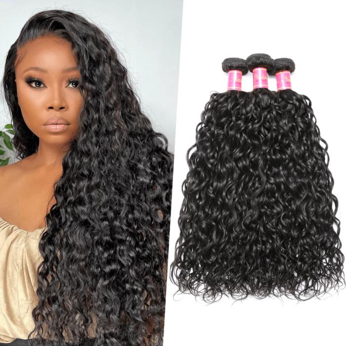 Nadula Indian Water Wave Virgin Hair Weave 4 Bundles Remy Indian Human Hair