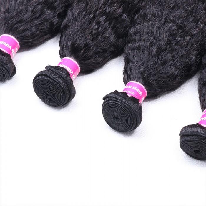 Nadula Soft Virgin Kinky Straight Hair Weave 4 Bundles Affordable Unprocessed Virgin Human Hair Extensions
