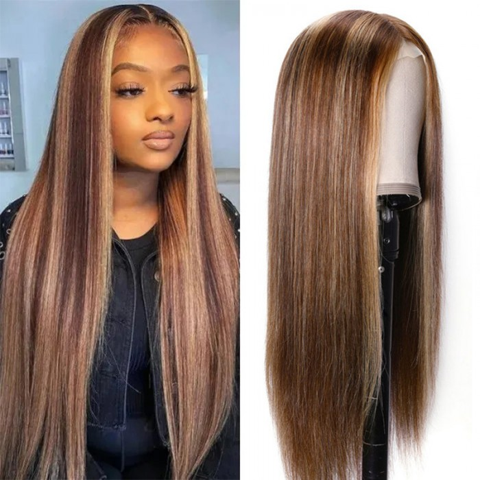 Nadula Flash deal 16 Inch Straight Blonde Hand Tied Lace Wigs Brown Wig Highlight Color 150% Density Natural Hairline