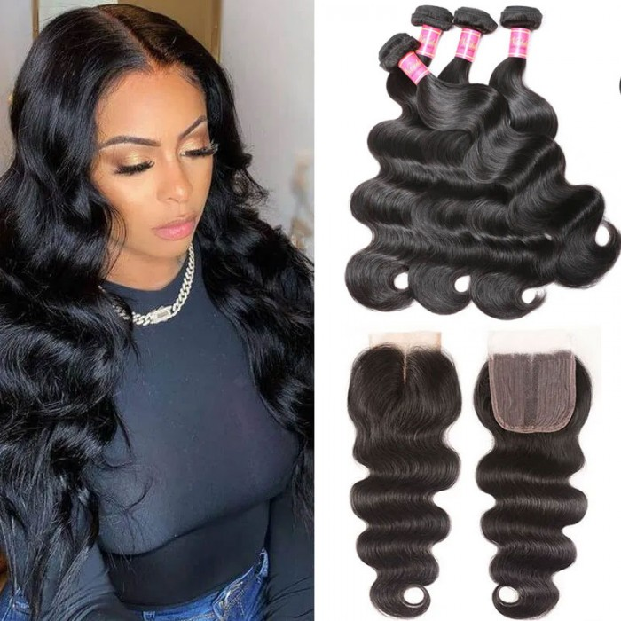 Nadula Body Wave 4x0.75 Inch T Closure with 4 Bundles Virgin Long Human Hair Weave
